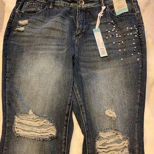 envision studio Jeans - Dark Blue Black, Pearl Embellished Jeans NWT